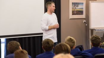 Image for Former Professional Football Player Encourages Students