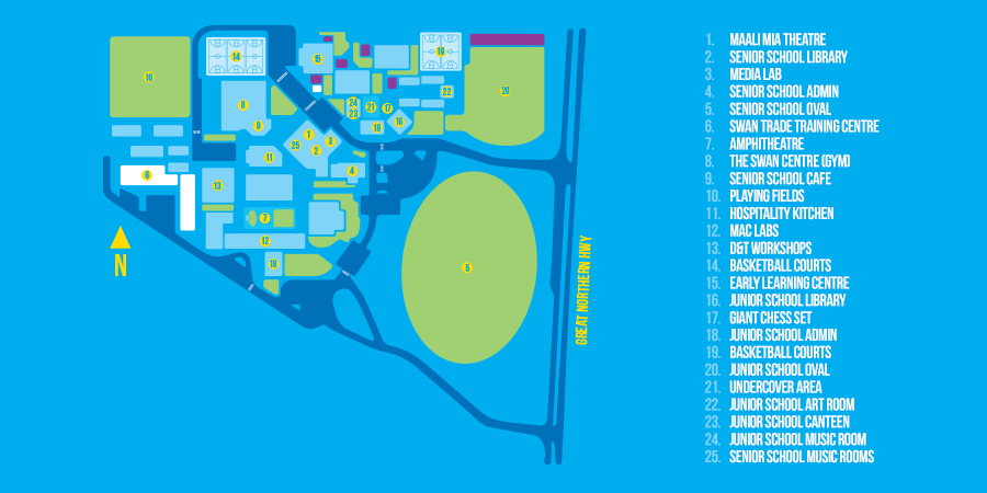 Map of Swan Christian College Facilities